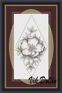 Esquema de punto de cruz para descargar GRATIS en PDF, imprimir y bordar cuadro con flor