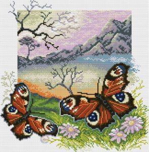 Gráfico de punto de cruz para descargar GRATIS en PDF, imprimir y bordar paisaje con mariposas