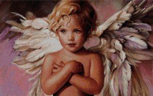 Gráfico de punto de cruz para descargar en PDF, imprimir y bordar angelito con grandes alas
