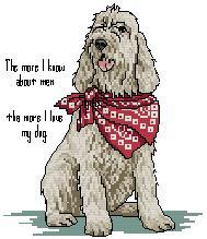 Esquema de punto de cruz para descargar GRATIS en PDF, imprimir y bordar perro con pañuelo