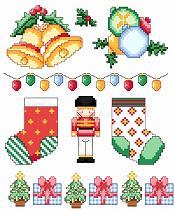 Gráfico de punto de cruz para descargar GRATIS en PDF, imprimir y bordar adornos de Navidad