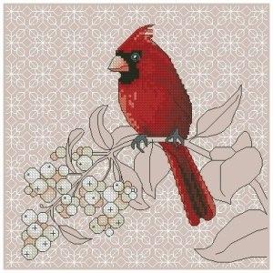 Gráfico de punto de cruz para descargar GRATOS en PDF, imprimir y bordar pájaro rojo
