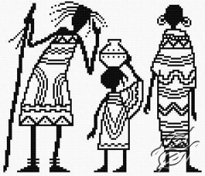 Esquema de punto de cruz para descargar GRATIS en PDF, imprimir y bordar una familia africana