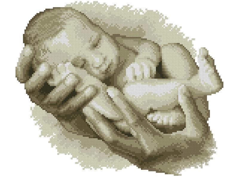 Gráfico de punto de cruz para descargar en PDF, imprimir y bordar dibujo de bebé entre manos adultas
