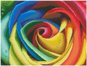 Gráfico de punto de cruz para descargar en PDF, imprimir y bordar rosa de varios colores