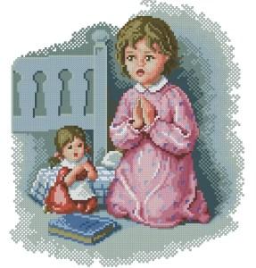 Niña rezando con su muñeca: precioso cuadro bordado a punto de cruz. Gráfico descargable en PDF.