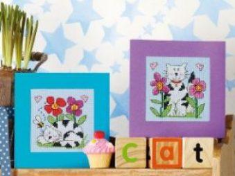 Gráficos de punto de cruz para descargar GRATIS en PDF, imprimir y bordar dibujos de gatos