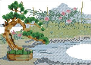 Gráfico de punto de cruz para descargar GRATIS en PDF, imprimir y bordar paisaje con bonsai
