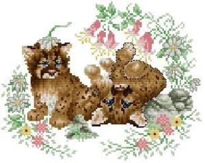 Gráfico de punto de cruz para descargar GRATIS en PDF, imprimir y bordar dibujo de cachorros felinos