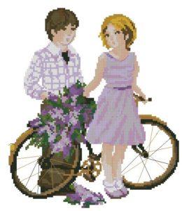 Gráfico de punto de cruz para descargar GRATIS en PDF, imprimir y bordar pareja con bicicleta