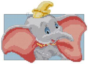 Gráfico de punto de cruz para descargar GRATIS en PDF, imprimir y bordar dibujo infantil de elefante Dumbo