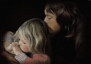 Gráfico de punto de cruz para descargar en PDF, imprimir y bordar dibujo de niño rezando a Jesús