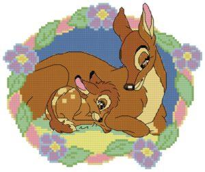 Gráfico de punto de cruz para descargar GRATIS en PDF, imprimir y bordar dibujo infantil Disney de Bambi y su madre