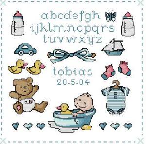Esquema de punto de cruz para descargar GRATIS en PDF, imprimir y bordar natalicio ó recuerdo de nacimiento para niño