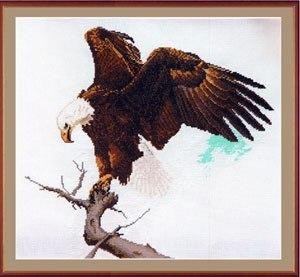 Gráfico de punto de cruz para descargar GRATIS en PDF, imprimir y bordar dibujo de un águila de cabeza blanca