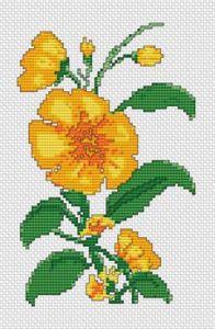 Gráfico de punto de cruz para descargar GRATIS en PDF, imprimir y bordar flores amarillas