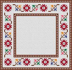 Gráfico de punto de cruz para descargar GRATIS en PDF, imprimir y bordar marco de flores