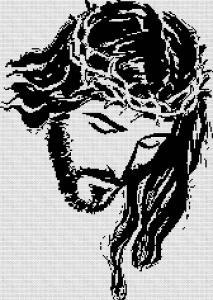 Gráfico de punto de cruz para descargar GRATIS en PDF, imprimir y bordar rostro de Jesús crucificado en blanco y negro