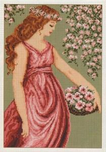 Gráfico de punto de cruz para descargar GRATIS en PDF, imprimir y bordar Dama recogiendo flores