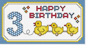 Gráfico de punto de cruz para descargar GRATIS en PDF, imprimir y bordar dibujo de celebración de cumpleaños para bebé