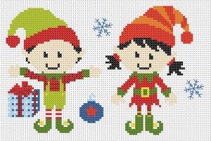 Gráfico de punto de cruz para descargar GRATIS en PDF, imprimir y bordar duendes de Navidad