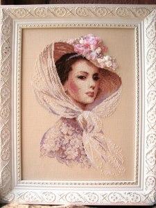 Gráfico de punto de cruz para descargar GRATIS en PDF, imprimir y bordar dama vestida de rosa con pamela