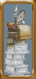 Gráfico de punto de cruz para descargar GRATIS en PDF, imprimir y bordar dibujo de hada y libros