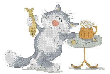 Gráfico de punto de cruz para descargar GRATIS en PDF, imprimir y bordar dibujo de gato bebiendo cerveza y comiendo pescado