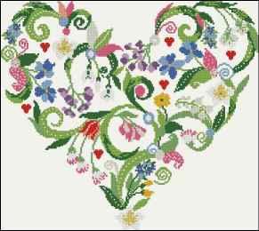 Gráfico de punto de cruz para descargar GRATIS en PDF, imprimir y bordar un corazón de flores