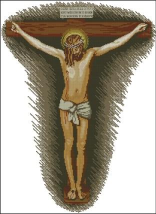 """Gráfico de punto de cruz para descargar en PDF, imprimir y bordar dibujo basado en el cuadro de Velázquez """"Cristo crucificado"""""""