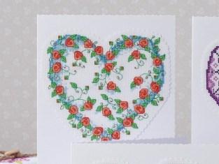 Gráfico de punto de cruz para descargar GRATIS en PDF, imprimir y bordar corazón de flores para tarjeta de San Valentín