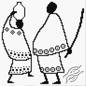 Gráfico de punto de cruz para descargar GRATIS, imprimir y bordar pareja de africanos