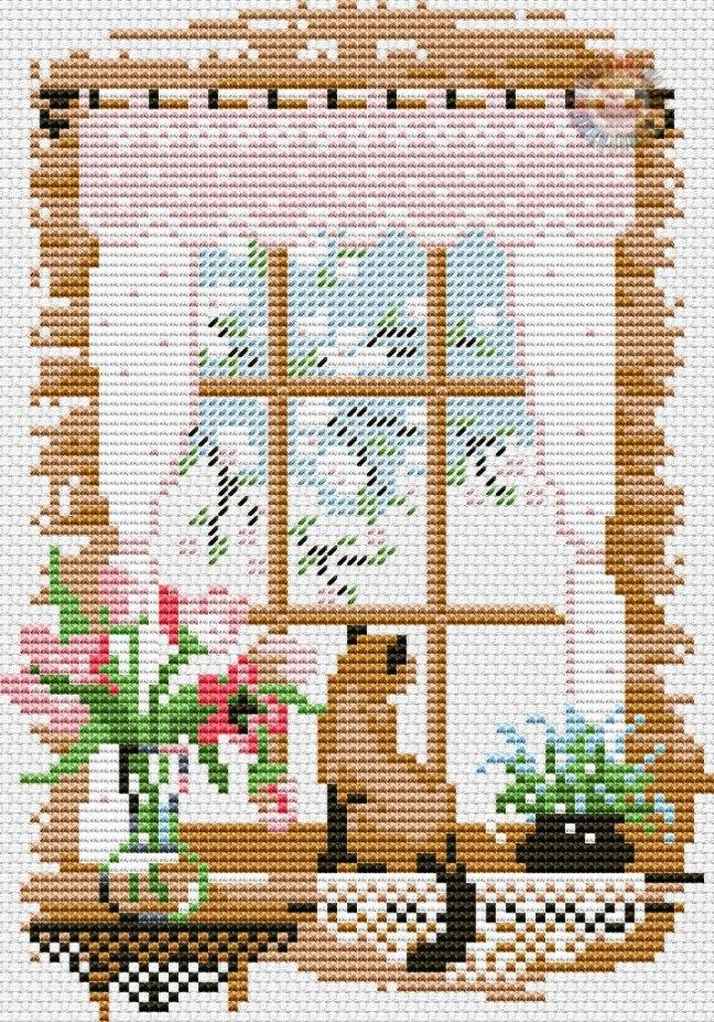 Gráfico de punto de cruz para descargar GRATIS en PDF, imprimir y bordar dibujo de gato mirando por ventana