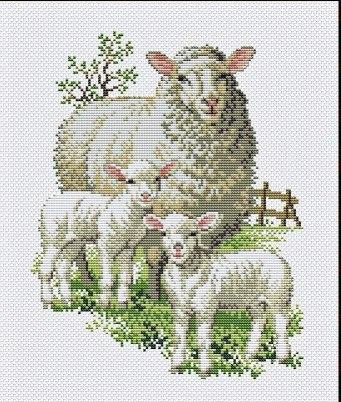 Gráfico de punto de cruz para descargar GRATIS en PDF, imprimir y bordar oveja y borreguitos en granja