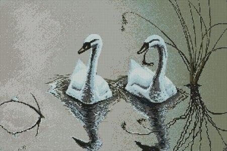Gráfico de punto de cruz para descargar GRATIS en PDF, imprimir y bordar dos cisnes en el agua