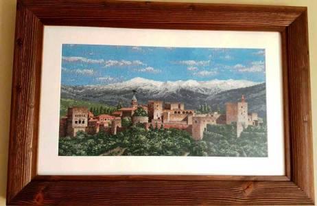 VENTA DE BORDADO A PUNTO DE CRUZ con paisaje de la Alhambra de Granada y Sierra Nevada al fondo