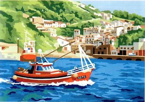 Tela panamá con dibujo impreso de la costa de Cudillero (Asturias), para bordar a punto de cruz