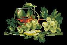 Gráfico de punto de cruz para descargar GRATIS en PDF, imprimir y bordar bodegón de uvas y copa de vino