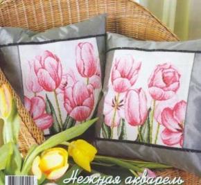 Gráfico de punto de cruz para descargar GRATIS en PDF, imprimir y bordar tulipanes rosas