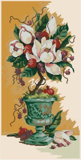 Gráfico de punto de cruz para descargar en PDF, imprimir y bordar dibujo de composición floral con magnolias