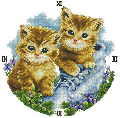 Gráfico de punto de cruz para descargar en PDF, imprimir y bordar reloj infantil con gatitos