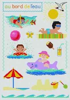 Gráfico de punto de cruz para descargar GRATIS en PDF, imprimir y bordar dibujo infantil con niños de vacaciones en verano