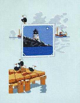 Gráfico de punto de cruz para descargar GRATIS en PDF, imprimir y bordar cuadro marino con faro, barco y gaviotas