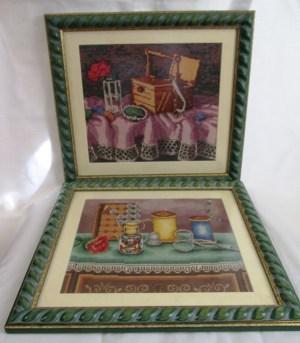 VENTA DE CUADROS BORDADOS A PUNTO DE CRUZ con dibujos de costurero y otros útiles de bordado y costura