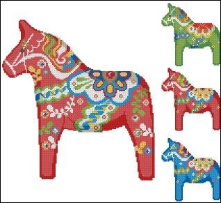 Gráfico de punto de cruz para descargar GRATIS en PDF, imprimir y bordar caballos coloreados
