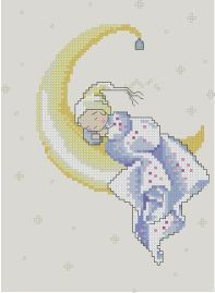 Gráfico de punto de cruz para descargar GRATIS en PDF, imprimir y bordar bebé dormido sobre la luna