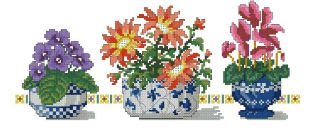 Gráfico de punto de cruz para descargar GRATIS en PDF, imprimir y bordar macetas con flores
