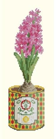 Gráfico de punto de cruz para descargar GRATIS en PDF y bordar maceta con jacinto rosa
