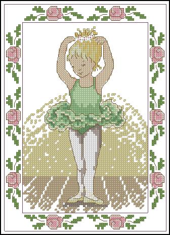 Gráfico de punto de cruz para descargar GRATIS en PDF, imprimir y bordar niña bailarina con vestido verde