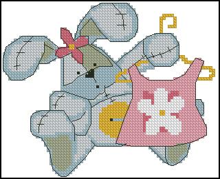 Gráfico de punto de cruz para descargar GRATIS en PDF, imprimir y bordar dibujo de bebé con